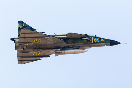 Saab Viggen captured at the Southport airshow in September 2019. 報道画像