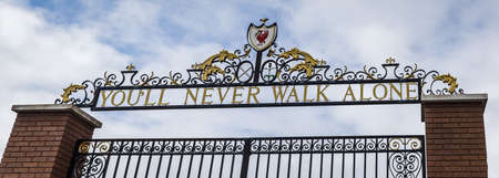 Letterbox crop of the Shankly Gates seen outside the home of Liverpool Football Club in June 2020. Editorial