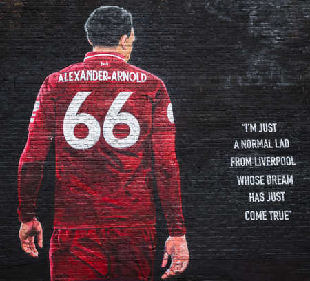 Close up of the Trent Alexander-Arnold mural yards away from Anfield stadium (home of Liverpool FC, England) seen in June 2020.