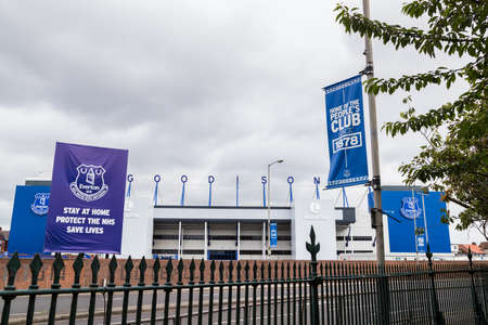 Goodison Park stadium (home of Everton FC) seen in June 2020 from the edge of Stanley Park.
