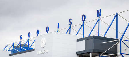 Looking up at the Goodison wording on the top of the Park End stand at Everton FC, England seen in June 2020.