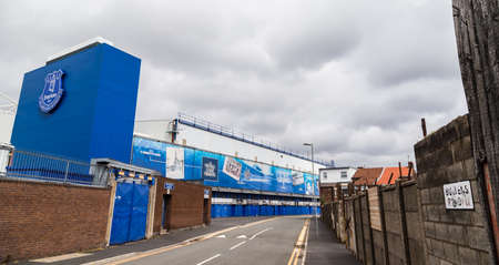 Bullens Road stand at Goodison Park (home of Everton FC) seen in Liverpool during June 2020. Editorial