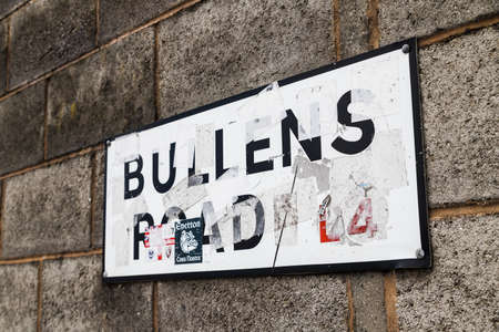Close up of the Bullens Road sign in Liverpool which leads to the turnstiles at Everton FC seen in June 2020.