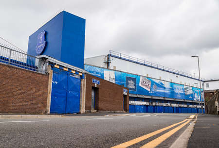Looking up at the Bullens Road stand (home of Everton FC) seen from the road side in June 2020.