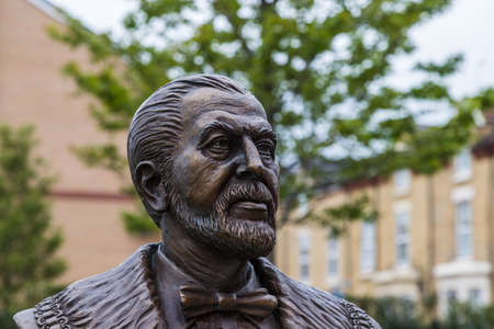 A statue of John Houlding seen facing his beloved Anfield stadium in Liverpool seen in June 2020.  He founded Liverpool FC in 1892 and this statue by Tom Murphy was released in 2018.