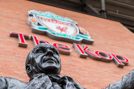 Statue of Bill Shankly at Anfield stadium in Liverpool (England) seen in June 2020.