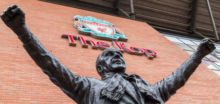 Bill Shankly statue at Anfield stadium in Liverpool (England) seen in June 2020. 報道画像
