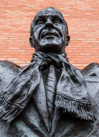 Close up of the Bill Shankly statue at Anfield stadium in Liverpool (England) seen in June 2020.
