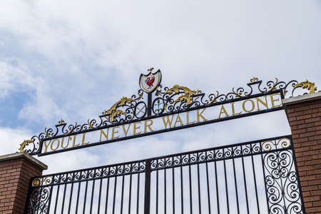 Looking up at the Shankly Gates outside the home of Liverpool Football Club in June 2020.