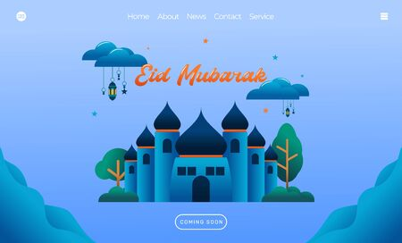 eid mubarak greeting concept with mosque illustration for web landing page template, banner, presentation, social, and print media. islamic eid fitr or adha flat design vector illustration Vector Illustration