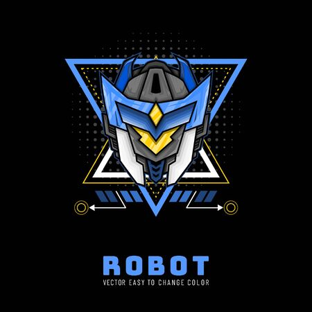 Black Blue Head Robot Knight From Future for merchandise, apparel or other with modern scare geometry ornament