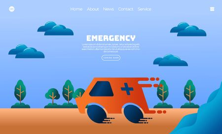 Illustration vector graphic of ambulance speeding due to emergency. Health and medical concept. Perfect for web landing page, banner, poster, etc.