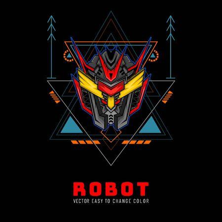 Blue Robot Head with modern geometry ornament. good for merchandise, tshirt, hoodie, etc