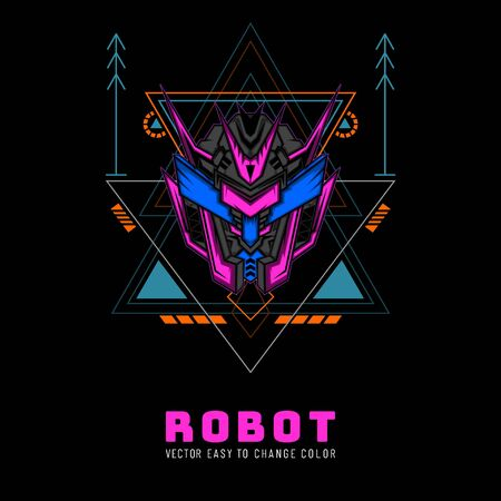 Robot Knight From Future for merchandise, clothing or other with modern scare geometry ornament Stok Fotoğraf - 147650745