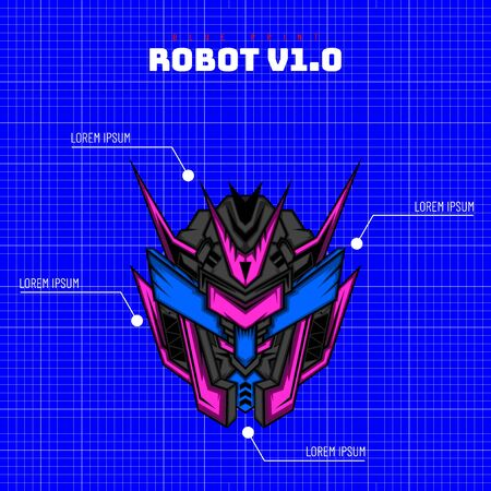 Robot Knight From Future for merchandise, clothing or other with modern scare geometry ornament Stok Fotoğraf - 147650747