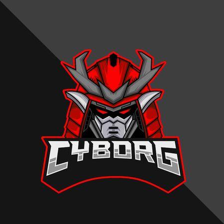 Cyborg Robot e-Sports Mascot Logo. Vector Illustration.