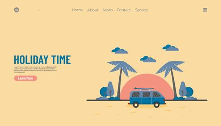 Illustration vector graphic of summer holiday concept, van car with beach background. good for web landing page.