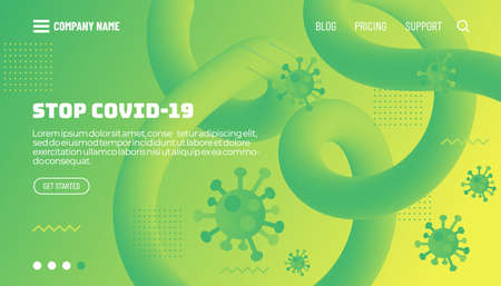 Covid-19 corona virus protection concept. 3d flow shape creative design set. Dynamic liquid color wave backgrounds. Templates set for brochures, posters, banners, flyers and cards. Vector illustration