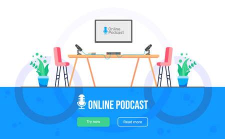 Flat concept of podcasting vector, Internet digital recording,online podcast, online broadcasting illustrated banner.