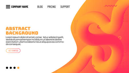 Virtual reality concept. 3d abstract fluid shapes flying above surface. Landing page template. Vector illustration.