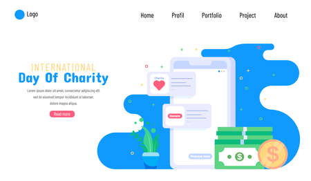 International Day of Charity, 5 September. donate with mobile application conceptual illustration vector.