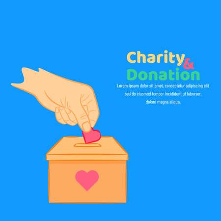 International Day of Charity, 5 September. donate conceptual illustration vector. Çizim
