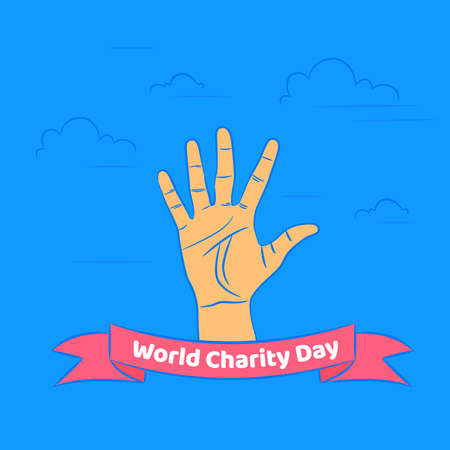 International Day of Charity, 5 September. donate conceptual illustration vector. Vettoriali