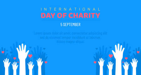 International Day of Charity, 5 September. donate conceptual illustration vector. Ilustrace