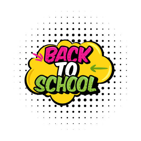 vector illustration. Text back to school. In the style of comics speech bubble. Design element for the design of leaflets, cards, envelopes, covers, flyers sales