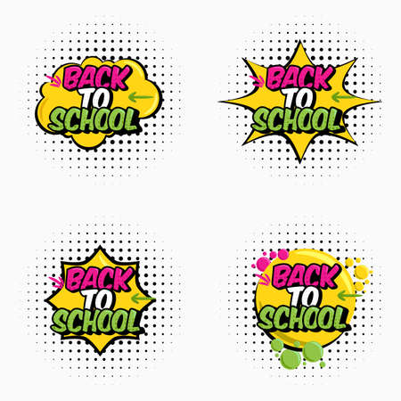 set of vector illustration. Text back to school. In the style of comics speech bubble. Design element for the design of leaflets, cards, envelopes, covers, flyers sales Çizim