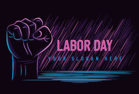 Labour day poster or banner with clenched fist. vector illustration.