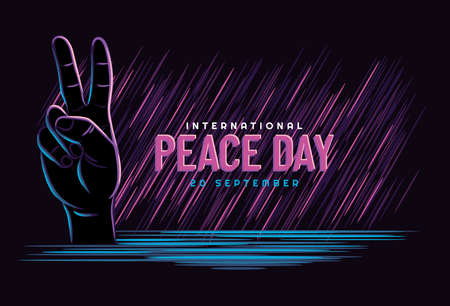 Peace Day, concept. September 20 International Day of Peace. Gesture of the hands, two fingers with neon style, symbol. Vector illustration . Isolated hand on dark background. 일러스트