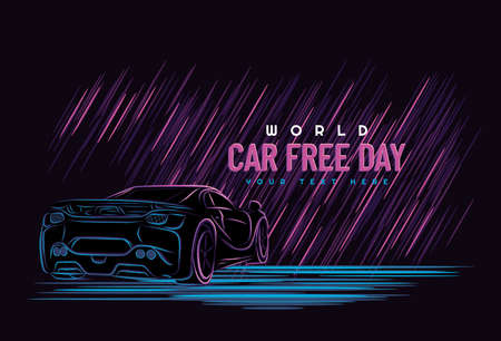 Car free day concept. Sepember 22. car line art with neon color style. Vector illustration on a dark background.