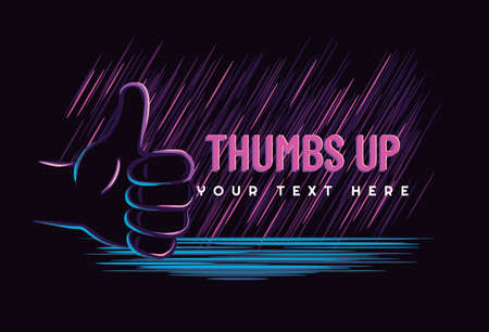 Hand showing symbol Like. Making thumb up gesture. Vector neon style vintage illustration isolated on a dark background. Sign for web, poster, t-shirt, info graphic