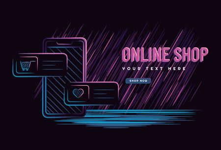Illustration vector graphic of online shop concept with smartphone on dark neon style. perfect for website, landing page, banner, poster. Çizim