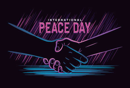 Peace Day, concept. September 21 International Day of Peace. Handshake line illustration with neon style, symbol. Vector illustration . Isolated hand on dark background. Çizim