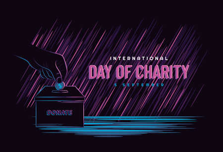 Illustration vector graphic of world charity day concept with hand holding money, donating on dark neon style. Perfect for web interface, poster, banner, tshirt template. Çizim