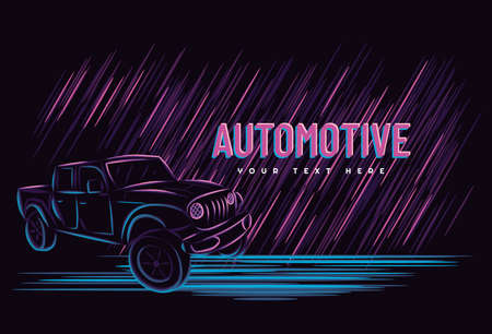 Illustration vector graphic of car automotive concept with line art neon sign style, Good for t shirt, banner, poster, landing page, flyer Çizim