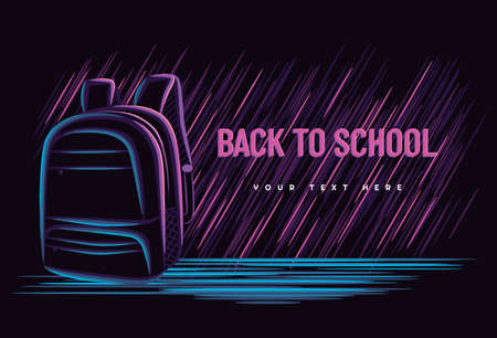 Illustration vector graphic of back to school concept with bag school line art neon sign style on dark background. good for banner, landing page, poster, flyer.