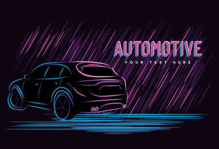 Illustration vector graphic of car automotive concept with line art neon sign style, Good for t shirt, banner, poster, landing page, flyer.
