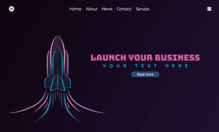 Startup business concept. Business project startup process, with rocket illustration . Can use for web landing page, banner, mobile app. Vector Illustration Çizim
