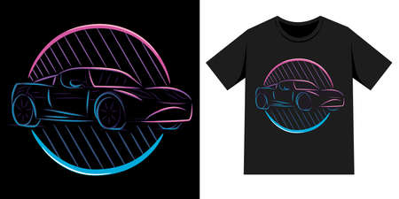 Car T-shirt illustration, car line art illustration with neon sign style. Can use for landing page, poster, t-shirt, logo,etc.  イラスト・ベクター素材