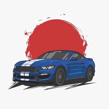 sports car illustration for t shirt design.