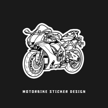 super motorbike sticker design black and white.