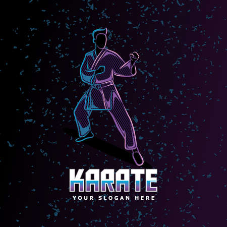 karate stance neon line art style perfect for poster, banner, landing page, tshirt, and other merchandise.