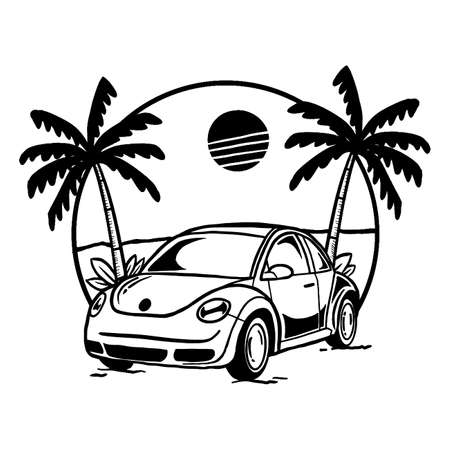 Classic car with a beach view, doodle black and white illustration.