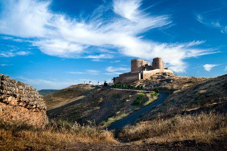 Ruined castle in LaMancha Stock Photo