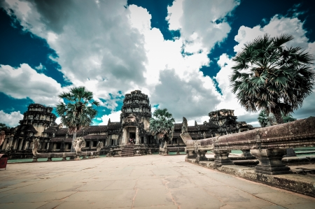 murals: Stone murals and sculptures in Angkor wat, Cambodia the impressive temples near siem reap build by the red khmer civilisation  Stock Photo