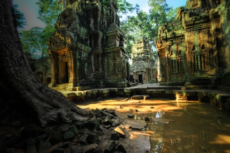 civilisation: Stone murals and sculptures in Angkor wat, Cambodia the impressive temples near siem reap build by the red khmer civilisation.
