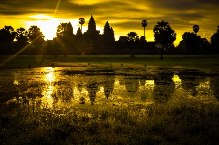 Angkor Wat at sunrise, cambodia, siem reap photo